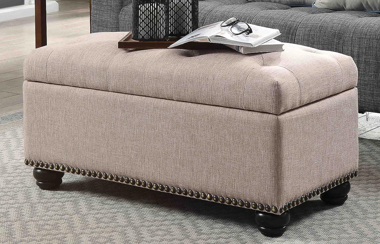 Convenience Concepts Designs4Comfort 7th Avenue Storage Ottoman Black