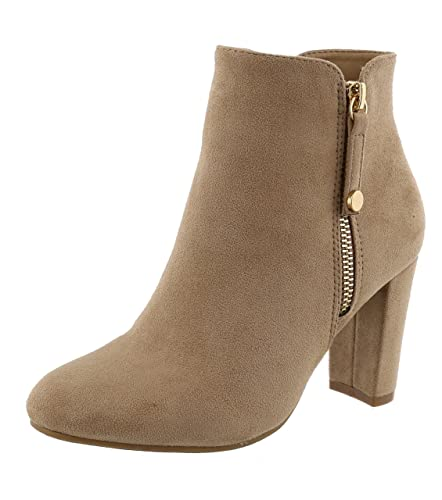 Women's Closed Round Toe Chunky Stacked Block Heel Ankle Bootie
