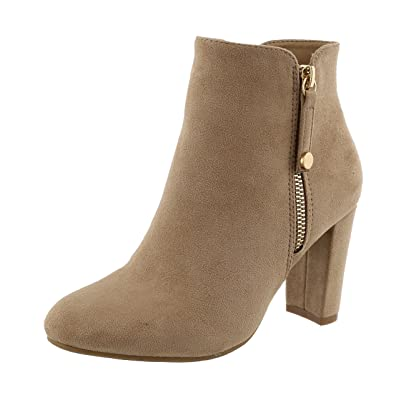 TOP Moda Women's Closed Round Toe Zipper Chunky Stacked Block Heel Ankle Bootie (10 B(M) US, Light Taupe): Shoes