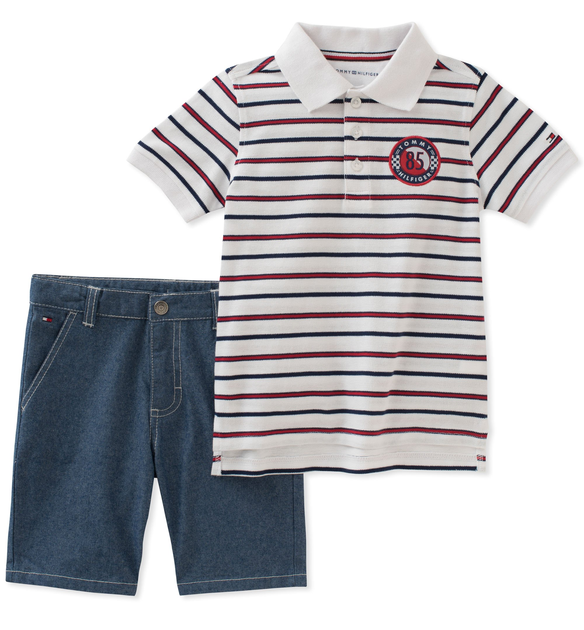 Tommy Hilfiger Boys' Toddler 2 Pieces Polo Shorts Set, red/Blue/White, 2T