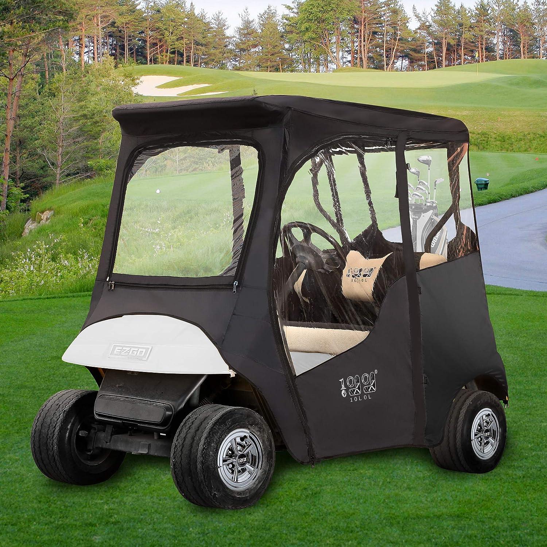 "10L0L Golf Cart Premium Enclosure for EZGO TXT 2 Passenger,600D Waterproof Portable 4-Sided Protection Golf Cart Cover Driving Enclosure,Roof up to 59"" L"