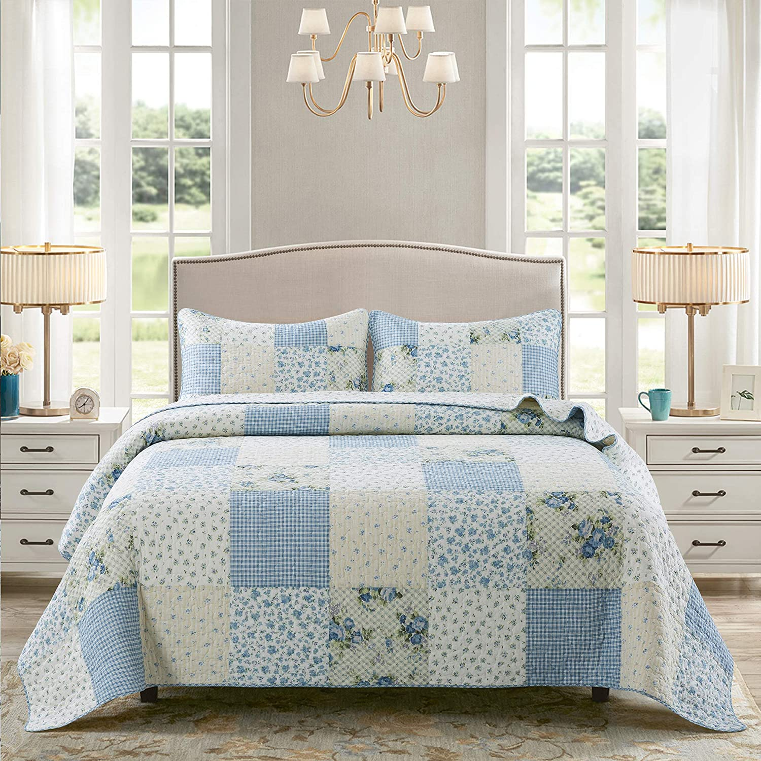 Soul /& Lane Bed of Roses 100/% Cotton 3-Piece Real Patchwork Quilt Set with 2 Sham Pre-Washed Reversible Machine Washable Lightweight Bedspread Coverlet Queen