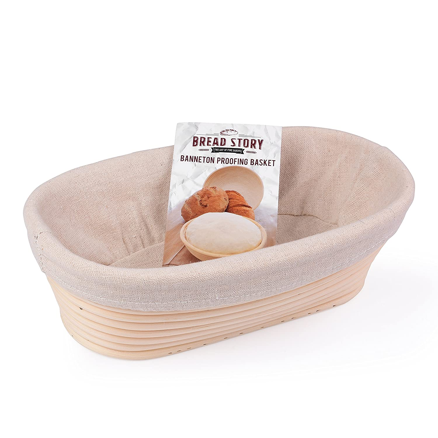 (10x6 inch) Oval Proofing Basket Set by Bread Story– Oval Banneton/Brotform Handmade Unbleached Natural Cane Bread Baking Kit with Cloth Liner + FREE Bread Baking Ebook, Course Discount, Coupon 91Ch71xOMZL