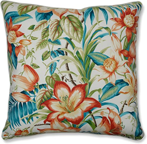 Pillow Perfect Outdoor Indoor Botanical Glow Tiger Lily Floor Pillow, 25 x 25 , Floral