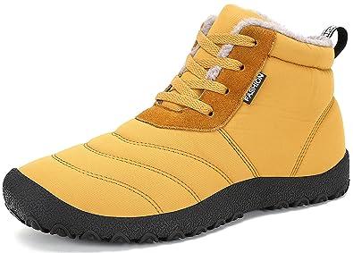 SAGUARO® Homme Femme Chaussures De Neige Bottes Hiver Bottines Fourrées  Chaudes Boots Lacets Plates, a9b9654d1839