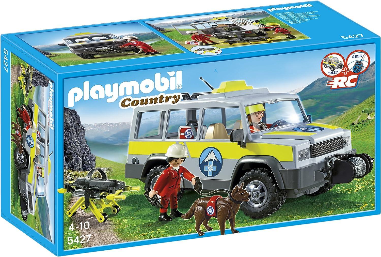 Playmobil Vida en la Montaña - Vehículo de Rescate de montaña, Juguete Educativo, Multicolor, 35 x 12,5 x 20 cm, (5427): Amazon.es: Juguetes y juegos