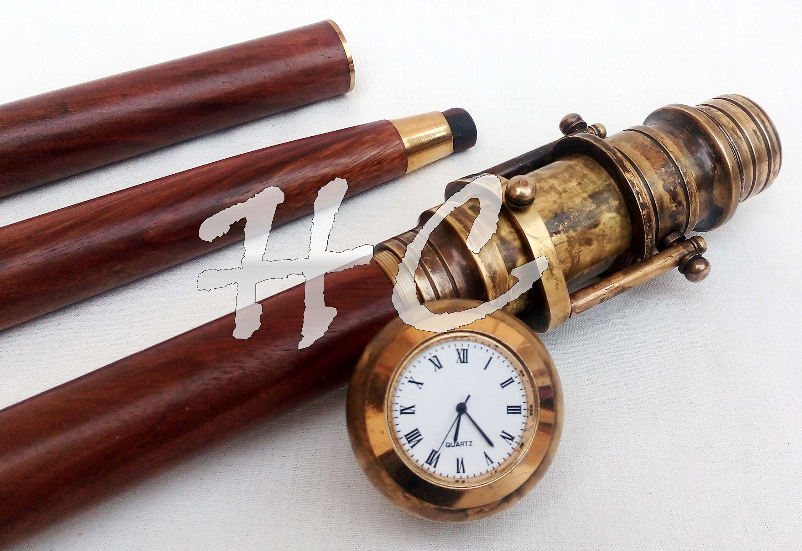 Vintage Clock Top Wooden Walking Stick With Hidden Spy Antique Brass Telescope