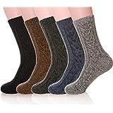 MIUBEAR 男式 5 双装针织保暖羊毛休闲冬季袜