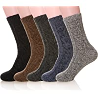 MIUBEAR Mens 5 Pair Pack Knitting Warm Wool Casual Winter Socks