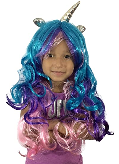 706c9a077673 Amazon.com: KINREX Unicorn Wig with Horns and Ears for Kids, Women, Girls,  Adults - Cosplay Halloween Costume Wigs - One Size Fits All: Clothing