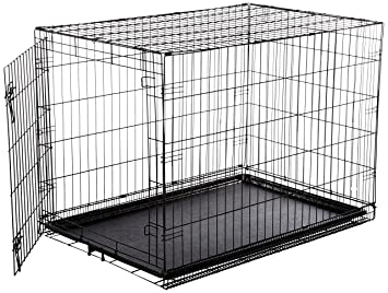 Perfect AmazonBasics Single Door Folding Metal Dog Crate   Large (42x28x30 Inches)