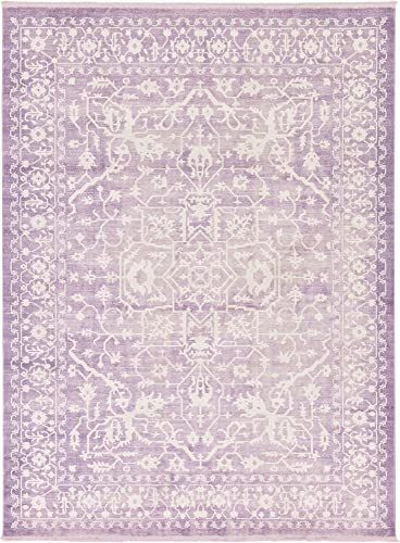 Unique Loom New Classical Collection Traditional Distressed Vintage Classic Purple Area Rug 9 0 x 12 0