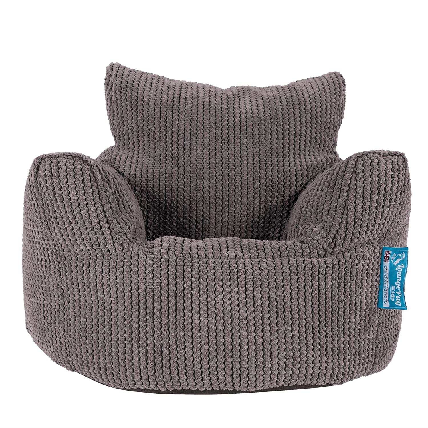 Lounge Pug - Pom Pom - CHILDRENS Armchair - Kids Bean Bags UK - CHARCOAL GREY Lounge Pug Bean Bags