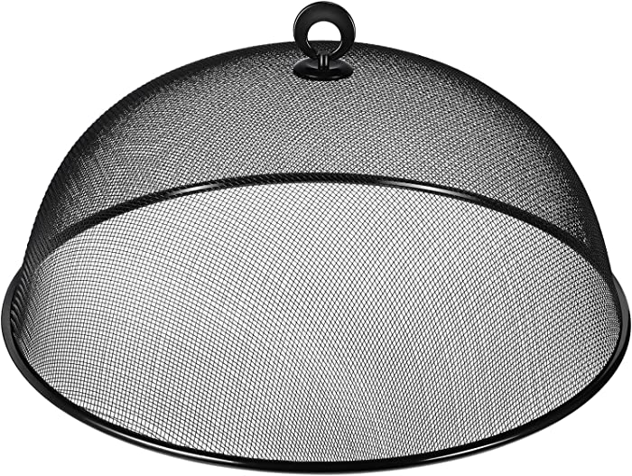 HEMOTON Mesh Food Cover Stainless Steel Mesh Dome Food Cover Protector, Round Mesh Screen Food Tent for Kitchen, Outdoor, Picnic, Reusable, Large, Black, 15.7-Inch