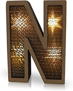 LED Light Paper Marquee Letter Decor - Letter N - Letter Wall Design with Battery Operated Lights - Large Decorative Letters for Bedroom, Kids Room, Living Room - Birthday Party Decoration