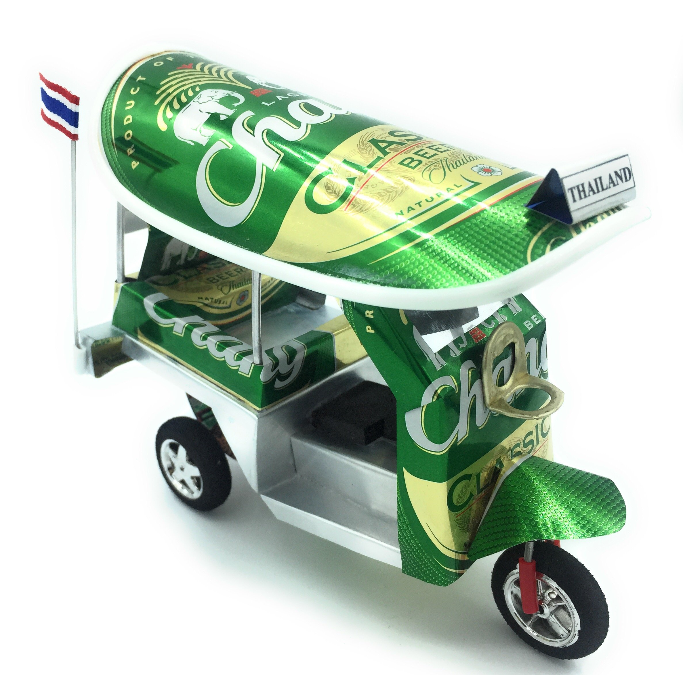 Thailand Thai tuktuk classic handmade Thai TUK TUK taxi made of Chang classic beer can aluminium model Collection show in room home office or great gift all seasion put in plastic clear box by WD store