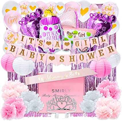 Amazon Com Baby Shower Decorations For Girl Kit Girls Baby Shower Party Supplies Bundle With Pink White And Gold Themed Decor It S A Girl Party Pack Includes Banner Balloons Curtains Pom Poms