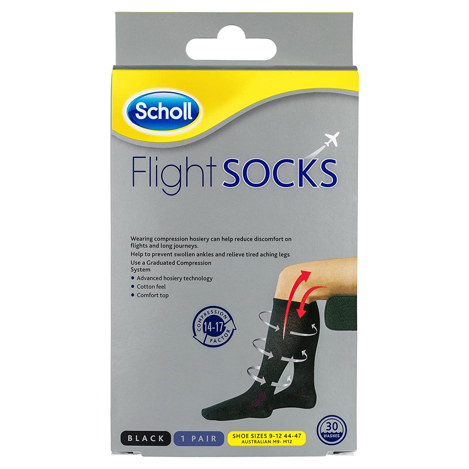 Scholl Flight Socks Compression Hosiery, Black (W8-11, M6-9