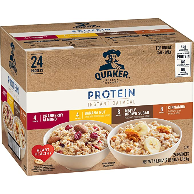 Amazon.com: Quaker Instant Oatmeal, Protein 4 Flavor Variety Pack, 7g+ Protein, Individual Packets, 24 Count