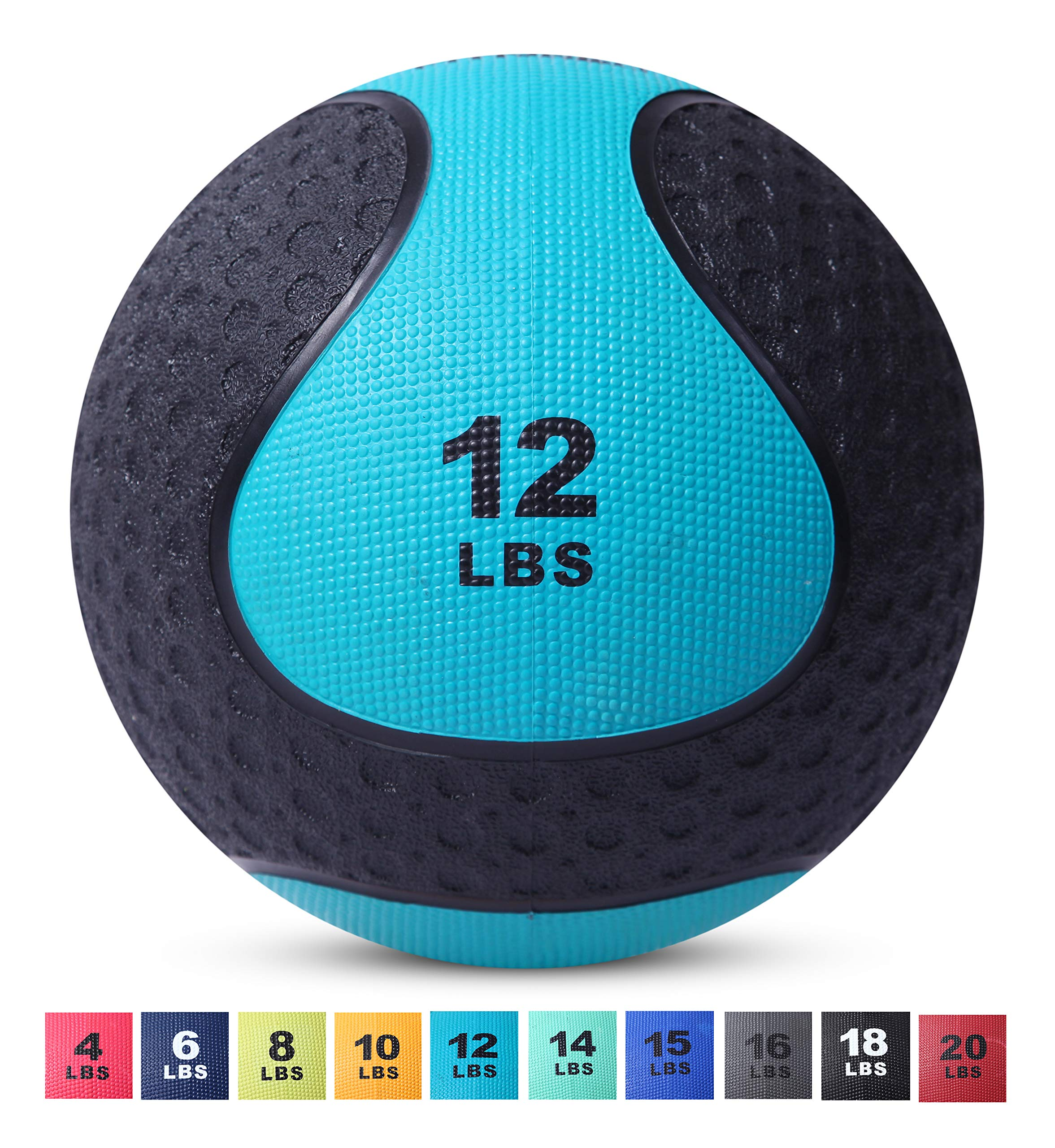 Day 1 Fitness Medicine Exercise Ball with Dual Texture for Superior Grip 12 Pounds - Fitness Balls for Plyometrics, Workouts - Improves Balance, Flexibility, Coordination