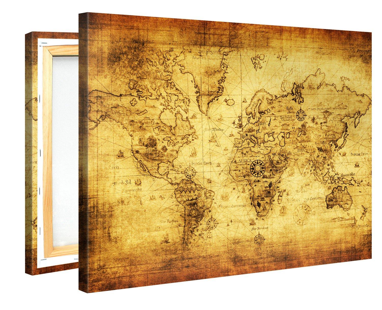 Amazon.com: Large Canvas Print Wall Art - RETRO WORLD MAP - 40x30 ...
