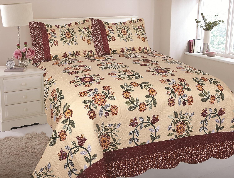 Greenworld Home 3-Piece Floral Printed Quilt Set Bedding Coverlet Bedspread Ensemble