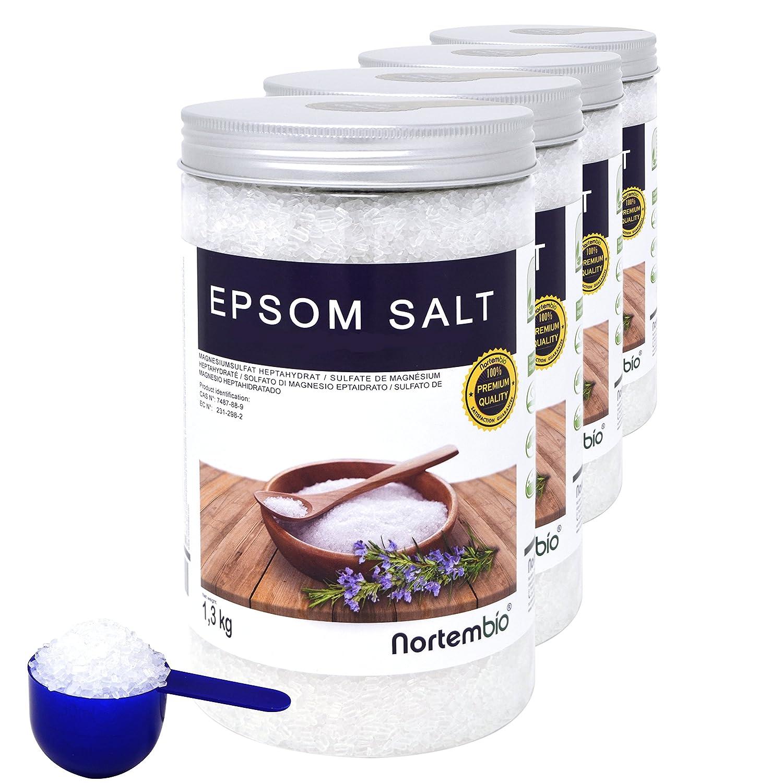 NortemBio Sal de Epsom 4x1,3 kg, Fuente concentrada de Magnesio, Sales 100% Naturales. Baño y Cuidado Personal.: Amazon.es: Hogar