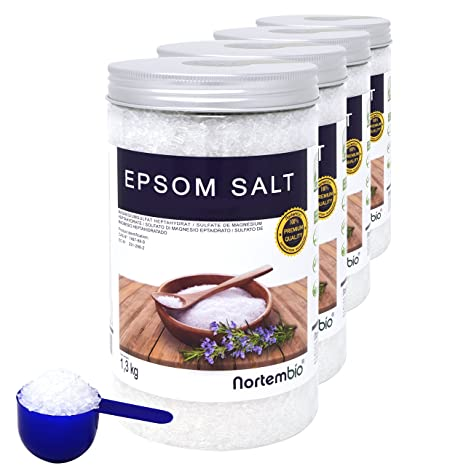 NortemBio Sal de Epsom 4x1,3 kg, Fuente concentrada de Magnesio, Sales 100