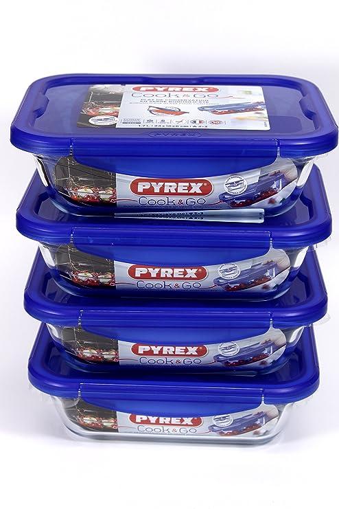 Pyrex rectangular Cook & Go juego de 4 piezas 1,7 litre ...