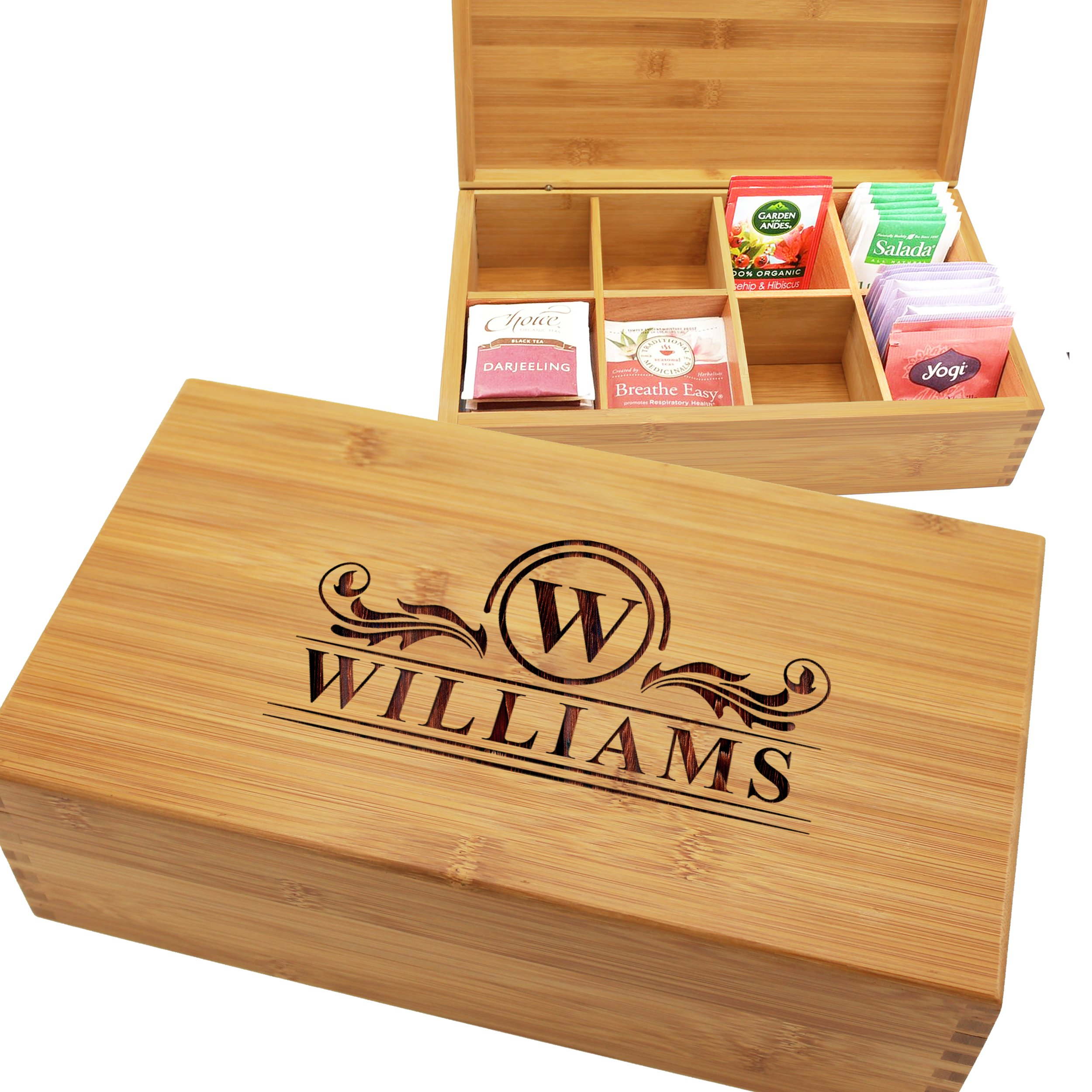 Custom Personalized Wood Tea Box Caddy Organizer - Engraved Bamboo Tea Storage Holder - Monogrammed for Free by The Wedding Party Store (Image #4)