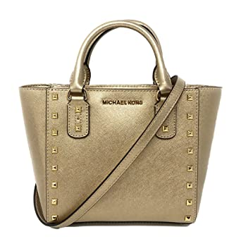 db62658bc7ec Amazon.com  Michael Kors Small Sandrine Stud Crossbody Bag (Pale Gold Gold  Tone Hardware)  Clothing
