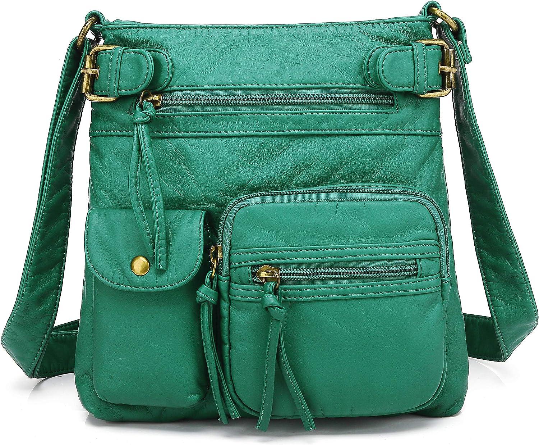 Scarleton Multi Pocket Crossbody Bag for Women, Ultra Soft Washed Vegan Leather Shoulder Purse, H1833