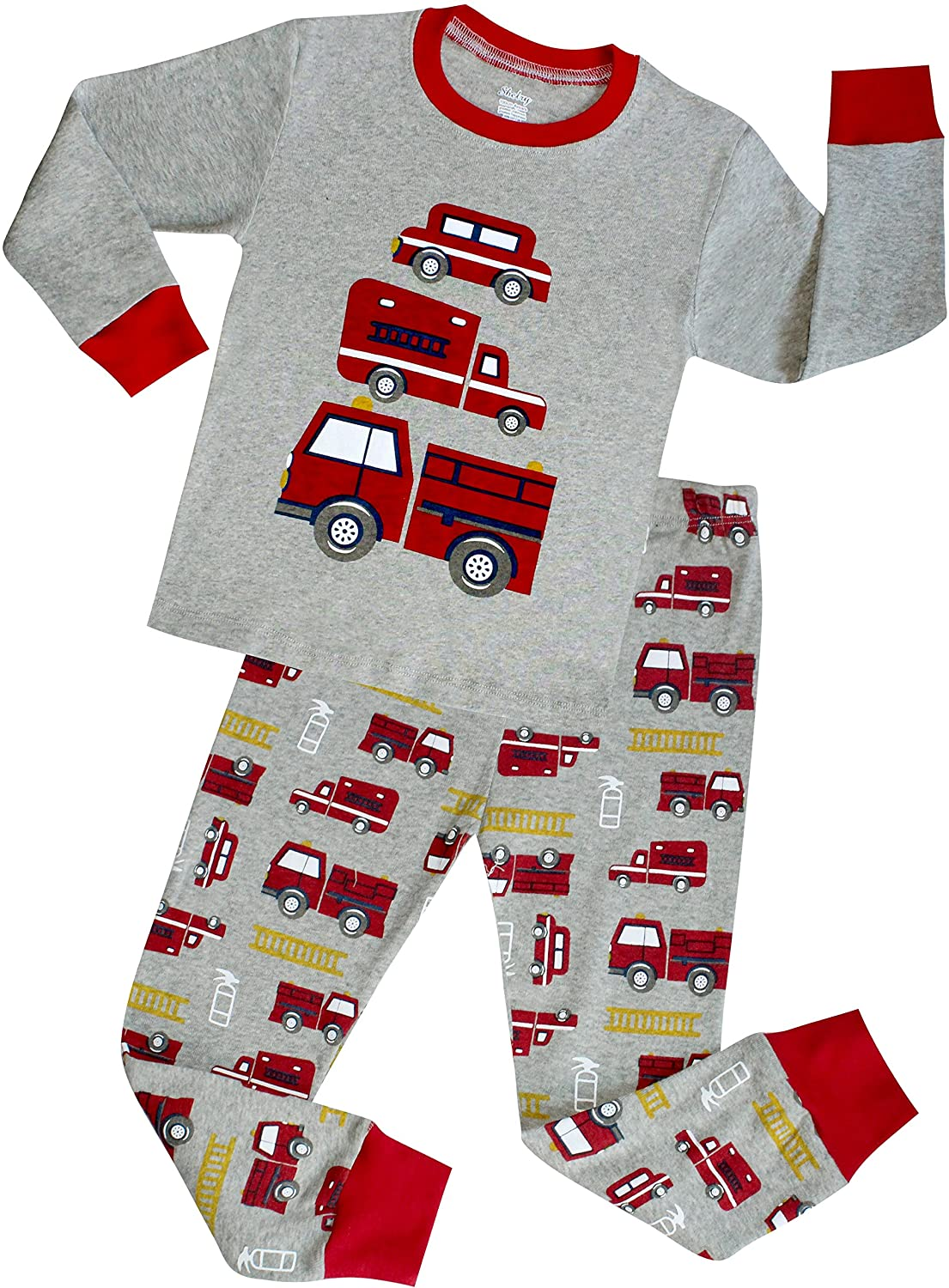 shelry Truck Boys Pajamas Toddler Sleepwear Clothes T Shirt Pants Set Kids Size 2Y 7Y