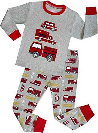 4017cf1316 Amazon.com  shelry Truck Boys Pajamas Toddler Sleepwear Clothes T Shirt  Pants Set Kids Size 2Y-7Y  Clothing
