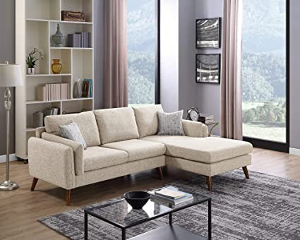 Dallas Beige Mid Century Modern Sectional Sofa With Chaise Lounge In Beige  Color Fabric