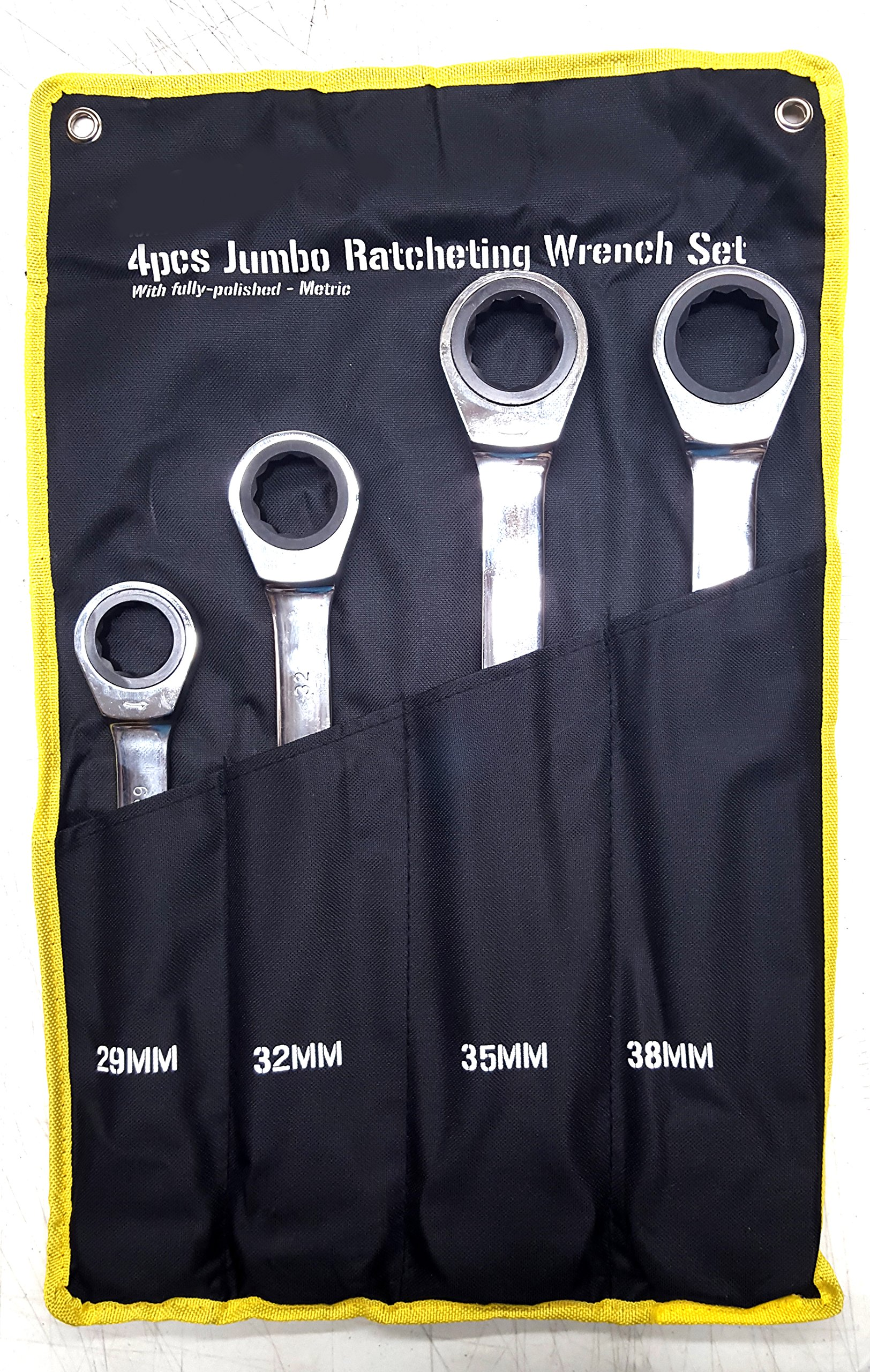 4PC MM SUPER JUMBO RATCHETING WRENCH SET With PORTABLE BAG