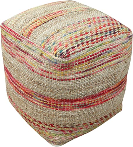 Christopher Knight Home Lola Boho Hemp and Wool Pouf