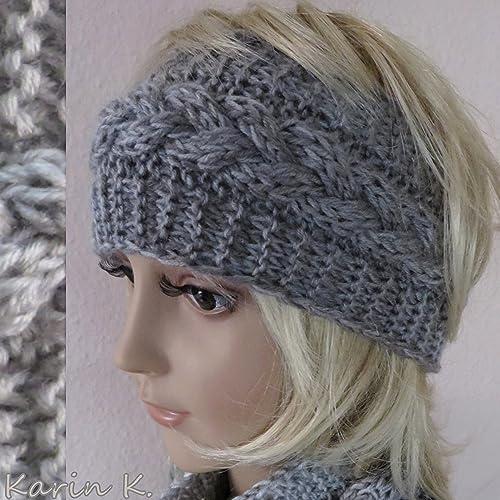 Stirnband in Beige und Grau im Farbverlauf, gestrickt im Zopf ...