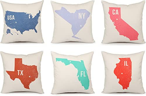 Acanva Decorative Accent Throw Pillow Cushion, with Pillowcase Cover Sham and Insert Filling, USA and State Map Print, Set of 6