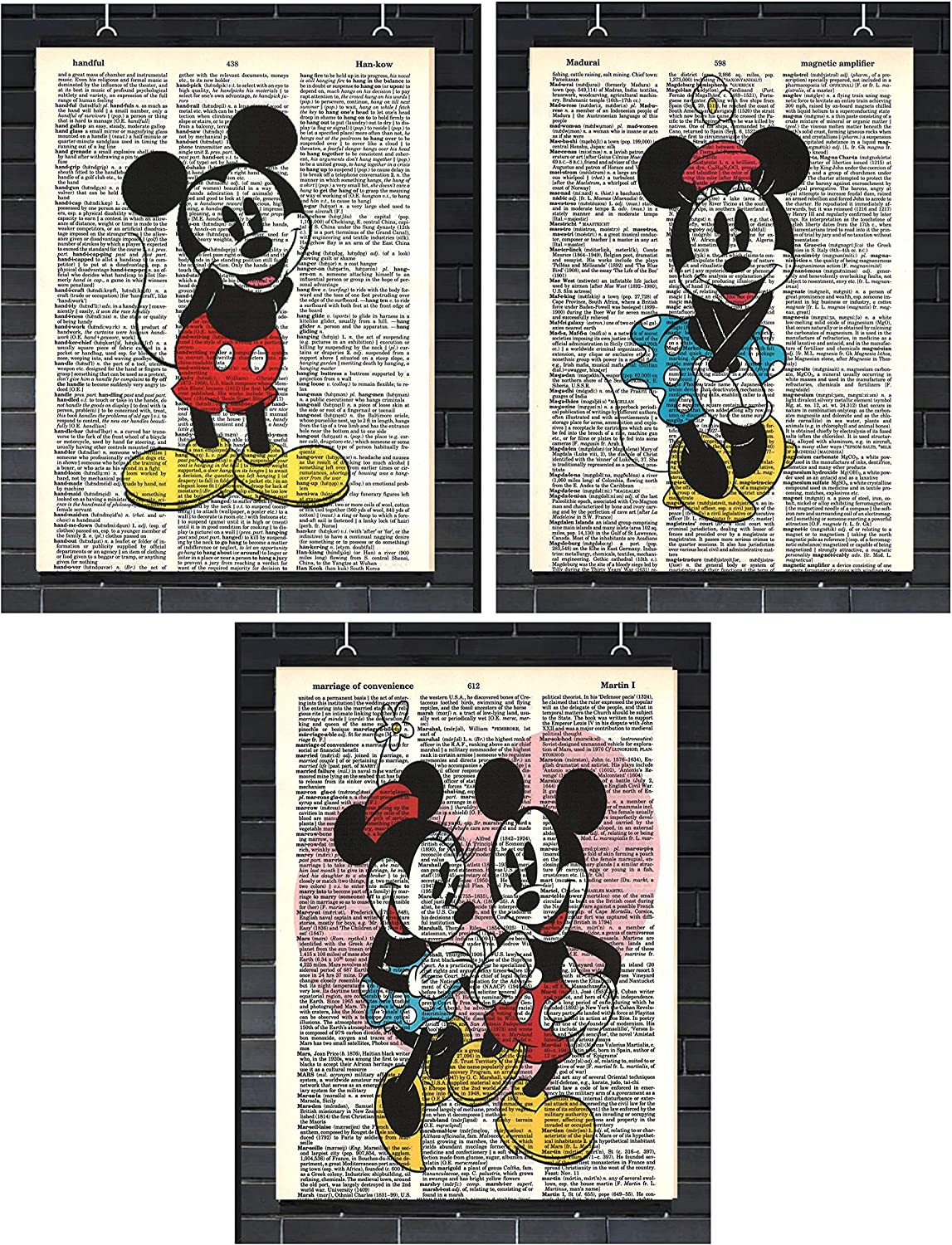 Vintage Disney Wall Art Set of (3) Mickey Mouse Minnie Mouse Dictionary Art Prints