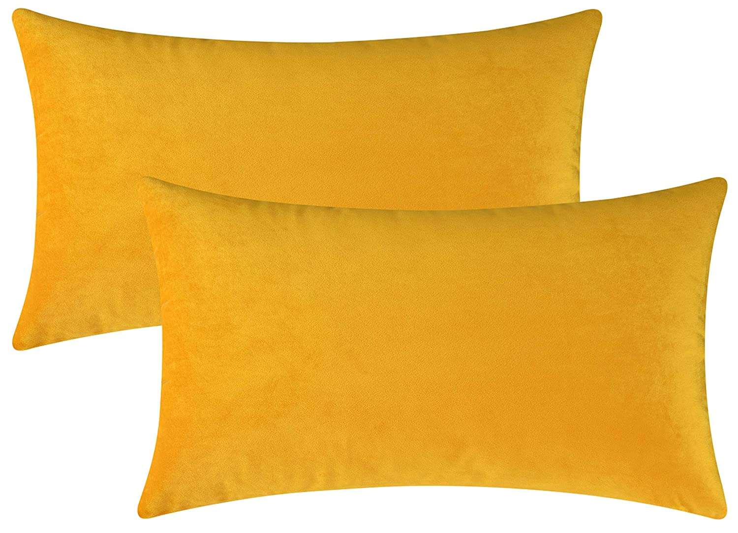 Mixhug Set of 2 Cozy Velvet Rectangle Decorative Throw Pillow Covers for Couch and Bed, Mustard Yellow, 12 x 20 Inches