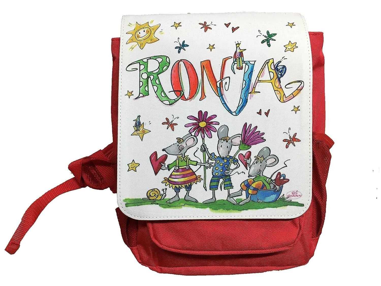Kindergartenrucksack mit Namen, Mäuse, Rosirosinchen, personalisierter Kinderrucksack Mäuse