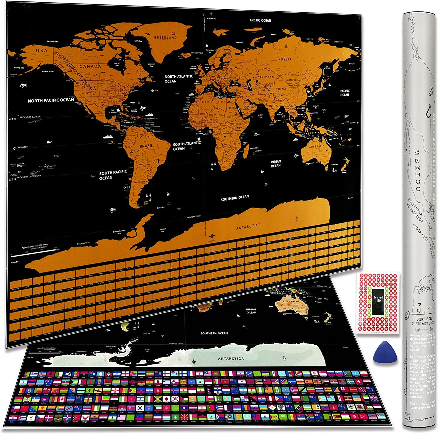 Scratch Off World Map Poster with US States and Country ...