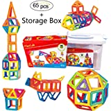 Magnetic Building Tiles for Kids | Stackable Magnetic Construction Building Blocks | Set of 65 Colorful Pieces with Storage Box