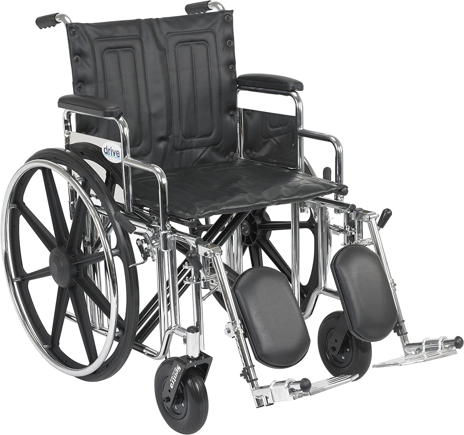 Drive Medical Sentra Extra Heavy Duty Wheelchair with Various Arm Styles and Front Rigging Options, Black Upholstery and Chrome Frame, Bariatric, 20 Inch 91ChwpltVRL