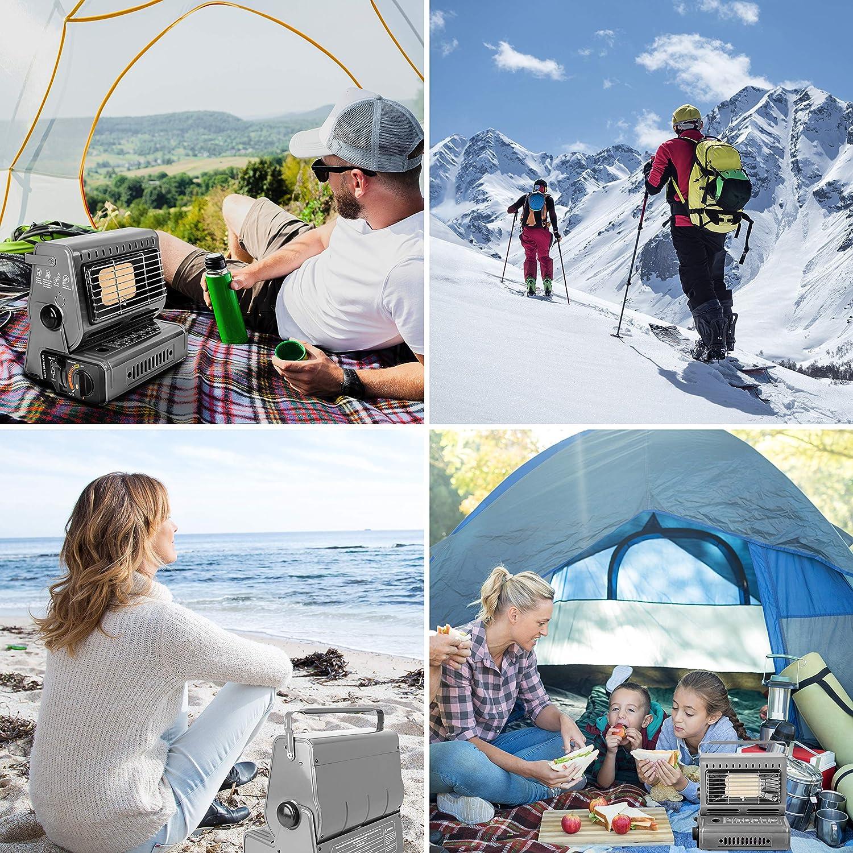 Caravane p/êche Milestone Camping Outdoors 20479 Chauffage Portable 1,3 KW pour Camping 42 x 26 x 20 cm gaz h29 x p20 x l26,5 cm Butane Gris
