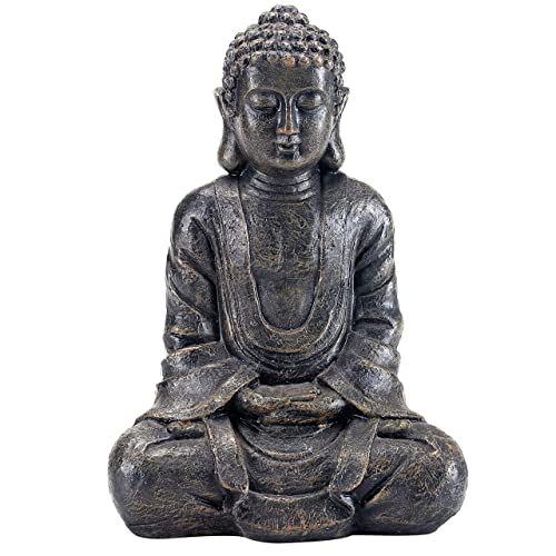 MyGift 12 inch Meditating Seated Buddha Statue Figurine with Rustic Gray Finish