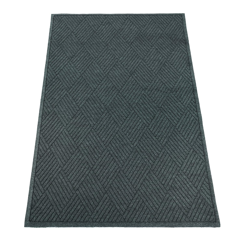 Guardian EcoGuard Diamond Indoor Wiper Floor Mat, Recycled Plactic and Rubber, 2'x3', Charcoal Black 2'x3' Millennium Mat Company EGDFB020304