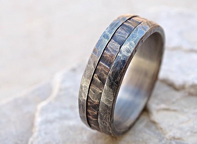 Amazon.com: cool mens ring mixed metal, unique wedding band bronze ...