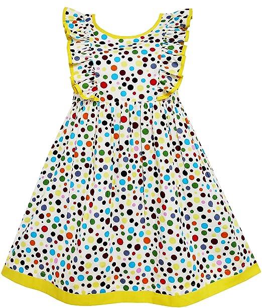 Sunny Fashion - Vestido lunares para niña amarillo: Amazon.es: Ropa y accesorios